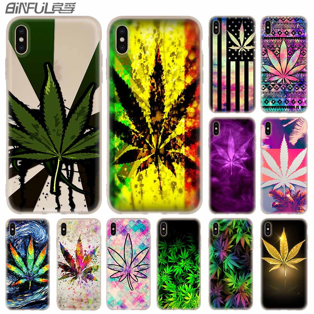 Cases Silicone soft Cover for iPhone X XS Max XR 6 6S 7 8 Plus 5 4S SE xs xr Weed Leaf grass huf