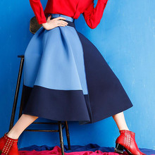 European and American fashion high-waist mixed color skirt spring autumn long section big swing pleated skirts womens