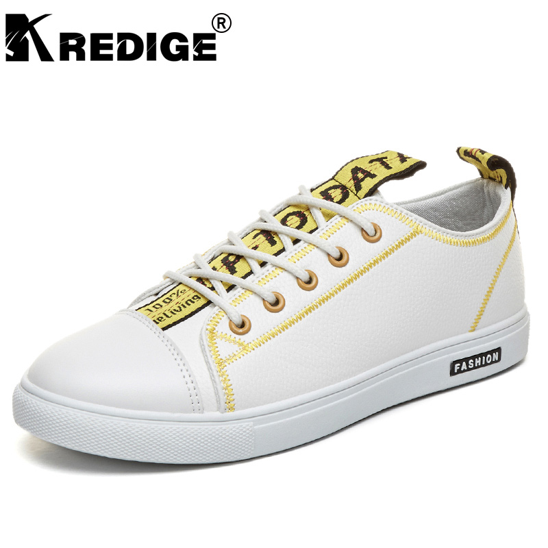 KREDIGE New Arrival PU Round Toe Lace-Up Shoes Men Letter Printing Hard-Wearing Shoes Waterproof Male Plate Shoes Big Size 39-44