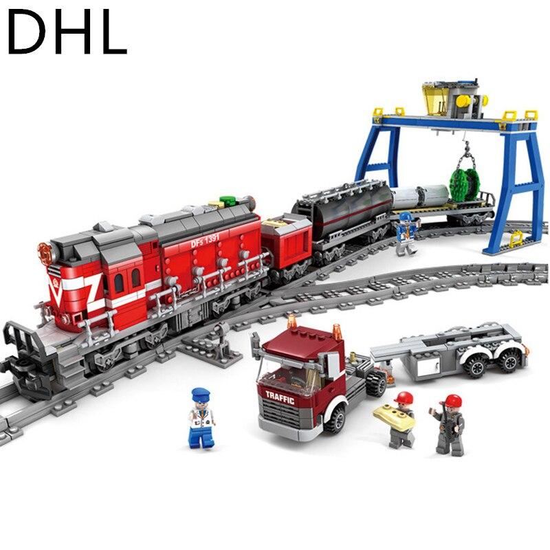 GBL Power Driven Trains Train Track Rail Crossing Rails Building Blocks Bricks Treins Model Toys Compatible Legoings Moc