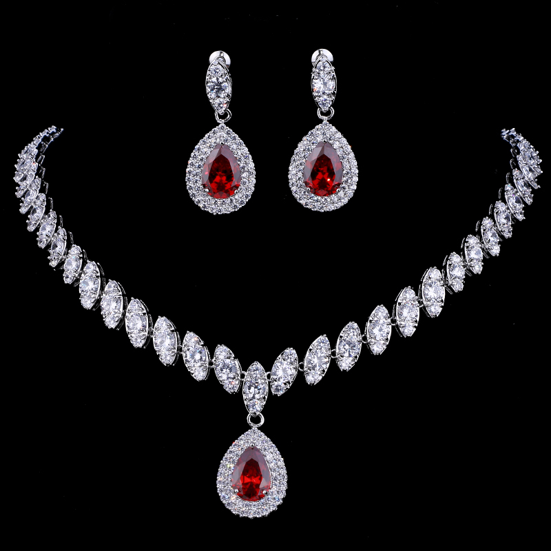 Emmaya Simulated Bridal Jewelry Sets Silver Color Necklace Sets 4 Colors Wedding Jewelry Parure Bijoux Femme 4