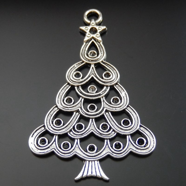 wholesale 5pcs pack antique silver plating christmas tree jewelry charms original western fashion classic designed pendant - Antique Silver Christmas Decorations