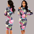 2016 Elegant Printed Dress Autumn Fashion Peony Formal Full Sleeve High Neck Stretchy Bodycon Dress Womens For Party Vestido
