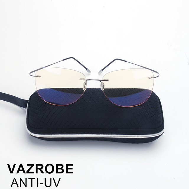 a7e6bc306a Vazrobe rimless Computer Glasses Men Women Points for gaming Work Yellow  Lens Anti Blue Light Radiation