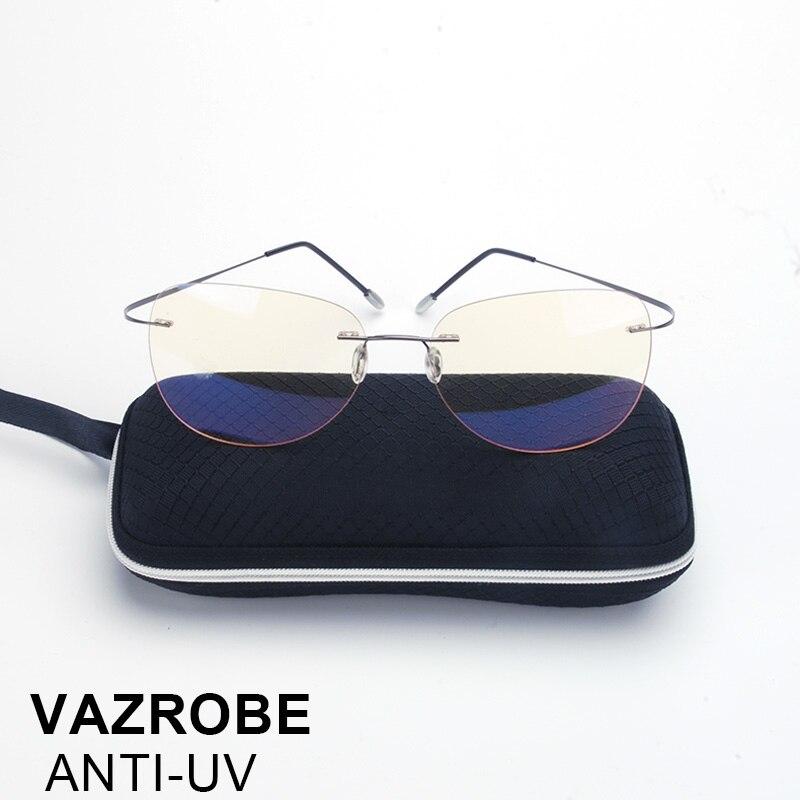 Vazrobe rimless Computer Glasses Men Women Points for gaming Work Yellow Lens Anti Blue Light Radiation UV Goggles Eye Protect