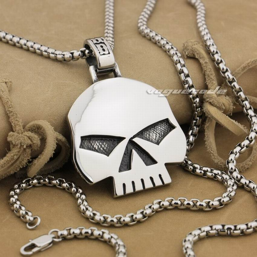 316L Stainless Steel Huge Heavy Skull Pendant Mens Biker Punk Style AJ015 Steel Necklace 24 inches