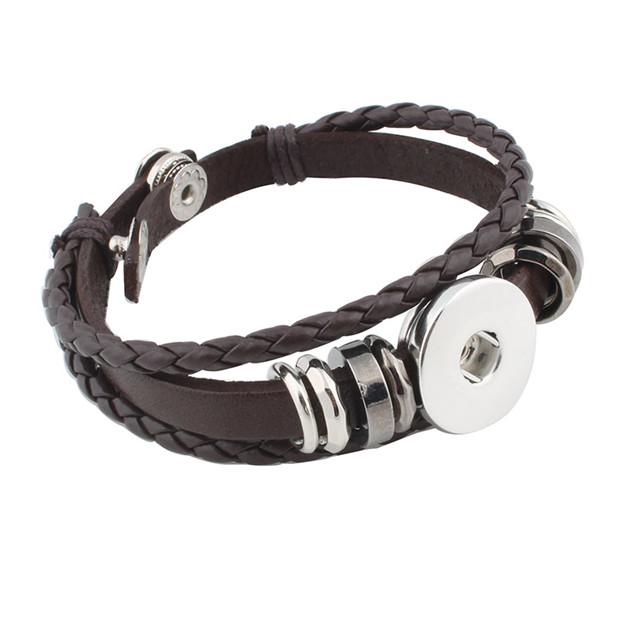 Hot Snap Bracelets & Bangles Newest Design Vintage Style Beads Leather Bracelet FIt 18/MM Snaps Button Jewelry ZE407 2