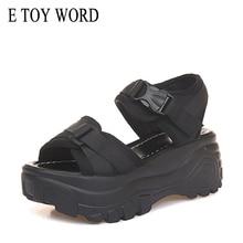 E TOY WORD Women Sandals 2019 Women Platform Wedge sandals female 6cm High Heel Women Shoes