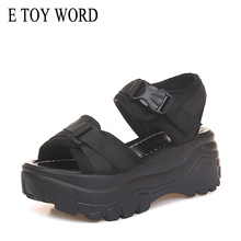 E TOY WORD Women Sandals 2019 Women Platform Wedge sandals female 6cm High Heel Women Shoes Summer Sneakers Sandalia Mujer