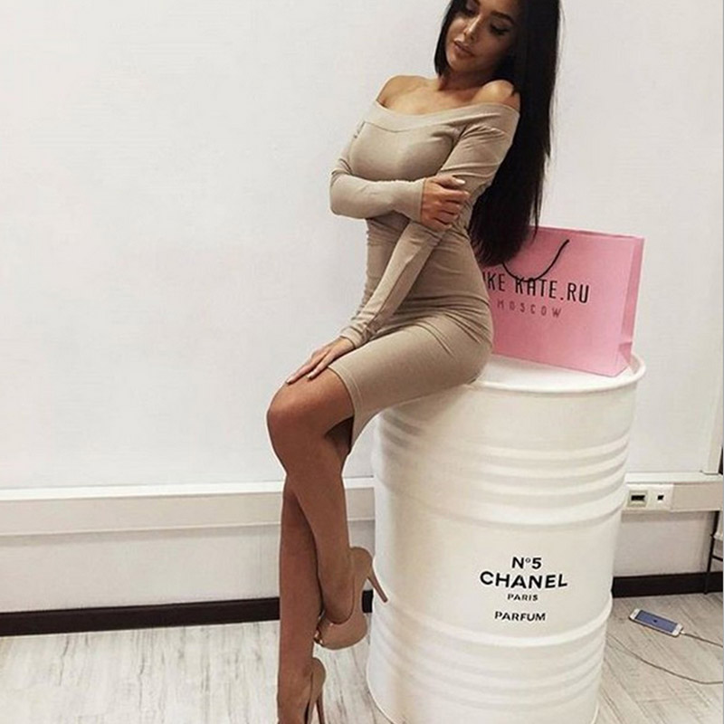 c9bc6cb254e Women Sexy Dress Fashion The Word Shoulder Summer Autumn Dress Vestidos Big  Size Women Clothing White Black Dresses-in Dresses from Women s Clothing on  ...