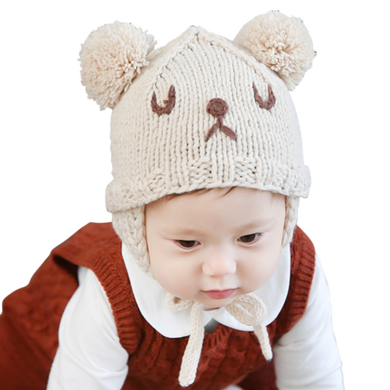 Baby Winter Warm Hats Boy Children Toddler Caps Ear Thick Wool Girl Hats  Beanie Animal Cute Boys Girls Bear Cap-in Skullies   Beanies from Apparel  ... 880e14548d00