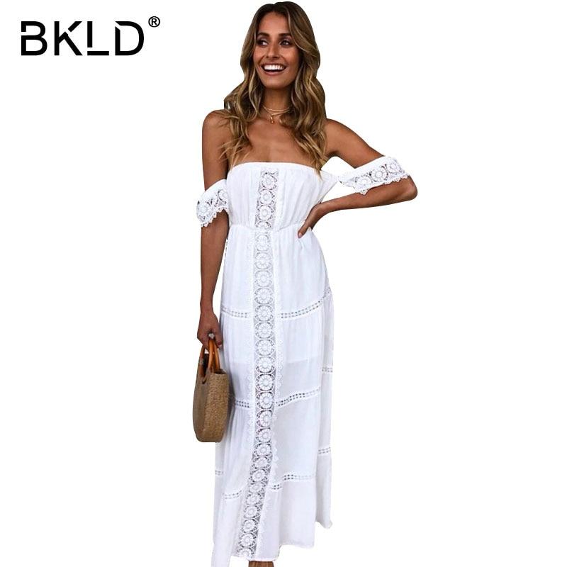 BKLD Summer Elegant Long Dress Women Off Shoulder Sexy Party Dress White Casual Beach Dress Hollow Out Flower Lace Maxi Vestidos