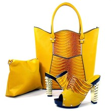 African Woman Matching Shoe And Bag Set Fashion Italian Shoe And Matching Bags Sets For Party Sandal Heel Pumps TH16-08