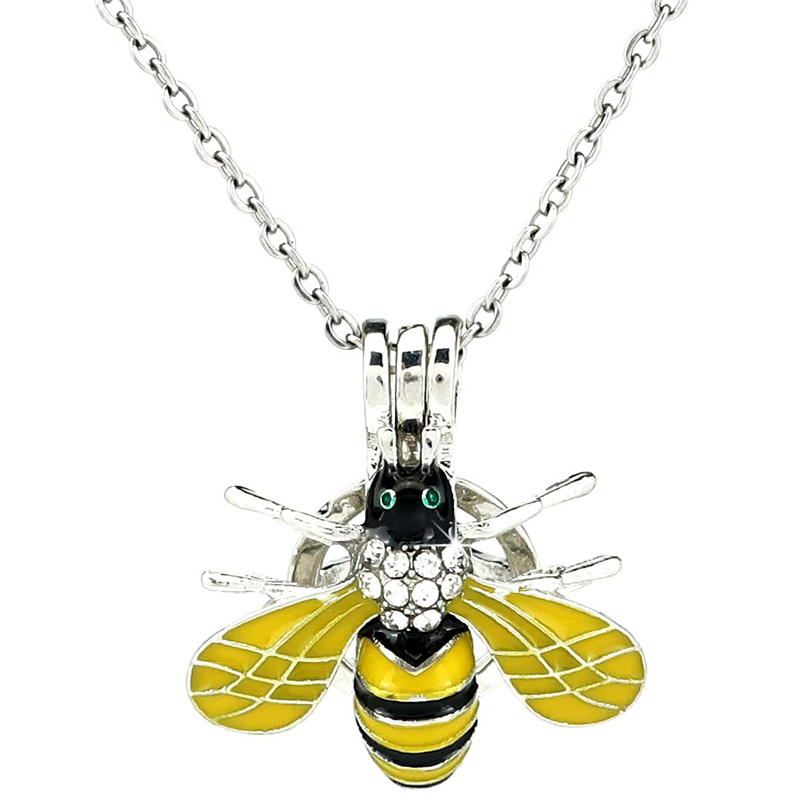 K1056 Silver Enamel Cute Bee Insect Rhinestone Beads Pearl Cage Pendant Chain Aroma Essential Oil Diffuser Locket Necklace