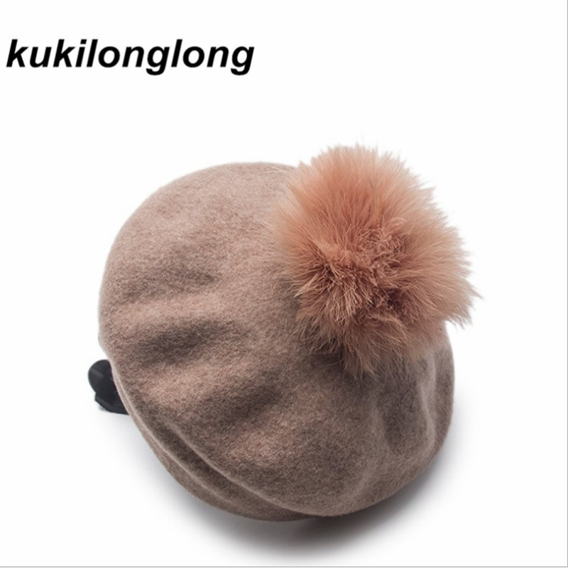 Kukilonglong Winter 2017 New Arrival Wool Berets Knitted Woolen Skullies Outdoor Pompoms Caps For Women Ladies