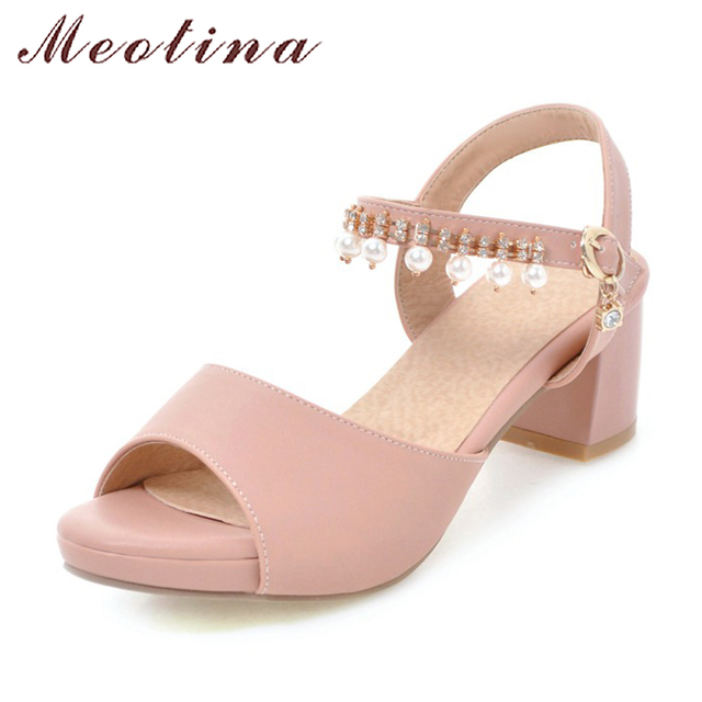 fde1436b13a6 Meotina Women Platform Sandals 2018 Summer Shoes Thick High Heels Ankle  Strap Pearls Party Shoes Pink Peep Toe Shoes Size 33-43