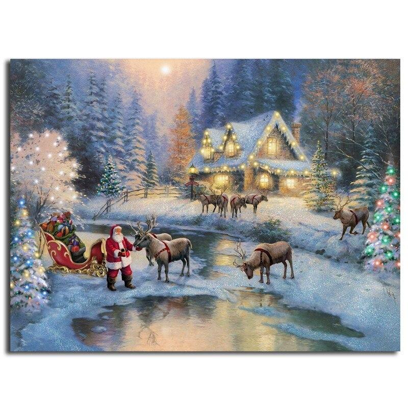 Thomas Kinkade Christmas At Deer Creek Cottage Art Canvas Poster ...