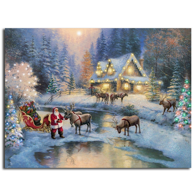 Thomas Kinkade Christmas.Us 5 7 5 Off Thomas Kinkade Christmas At Deer Creek Cottage Art Santa Claus Canvas Poster Painting Wall Picture Print Home Bedroom Decoration In