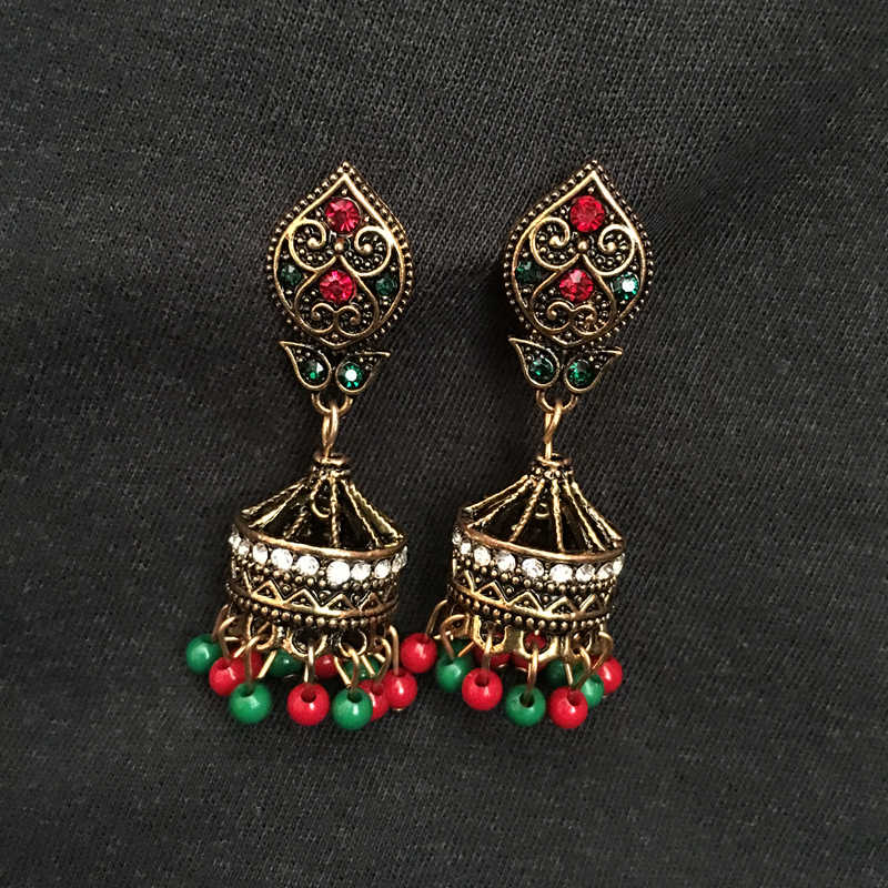8462b22bc Detail Feedback Questions about India Bollywood Black Golden Jewellery  Jhumka Earrings, Zinc Alloy Coloured Beads Zircon Ear Studs India Bride  Jewellery on ...