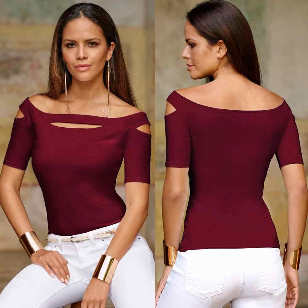 Женская модная уличная летняя футболка с коротким рукавом облегающее женские сексуальные футболки с вырезами Повседневный Женский пуловер Топы Футболки