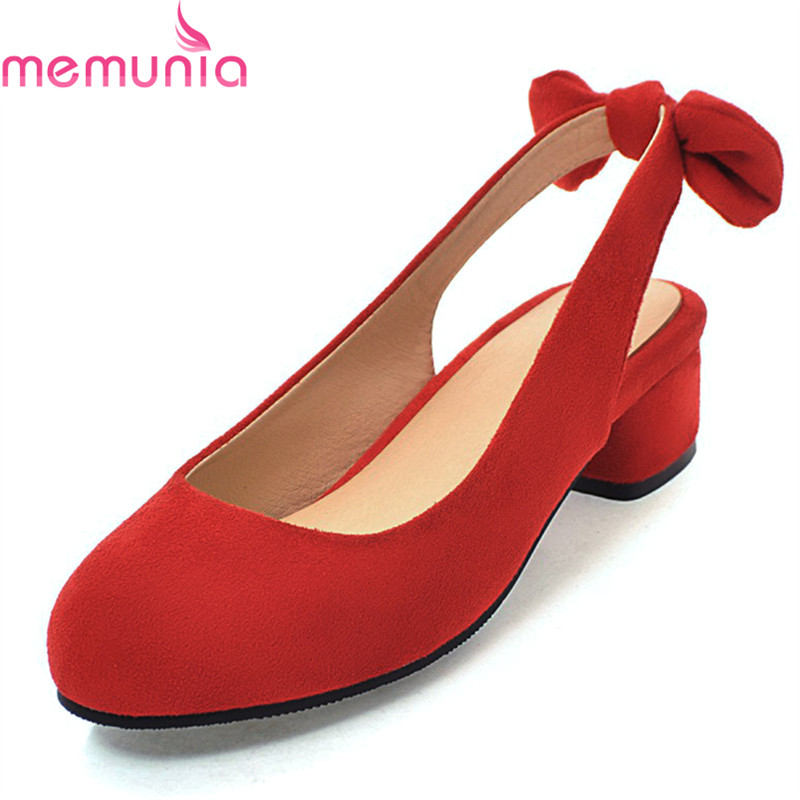MEMUNIA spring autumn hot sale low heel round toe ladies shoes fashion leisure slingbacks sweet top quality casual shoes 2015 hot sale new spring autumn women flats sweet bowtie casual fashion ladies wedding shoes