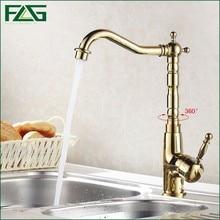 Flg Роскошные смеситель для кухни на бортике Золото Кухня кран 360 градусов Поворотный rubinetti холодной и горячей кухни смесители 1005