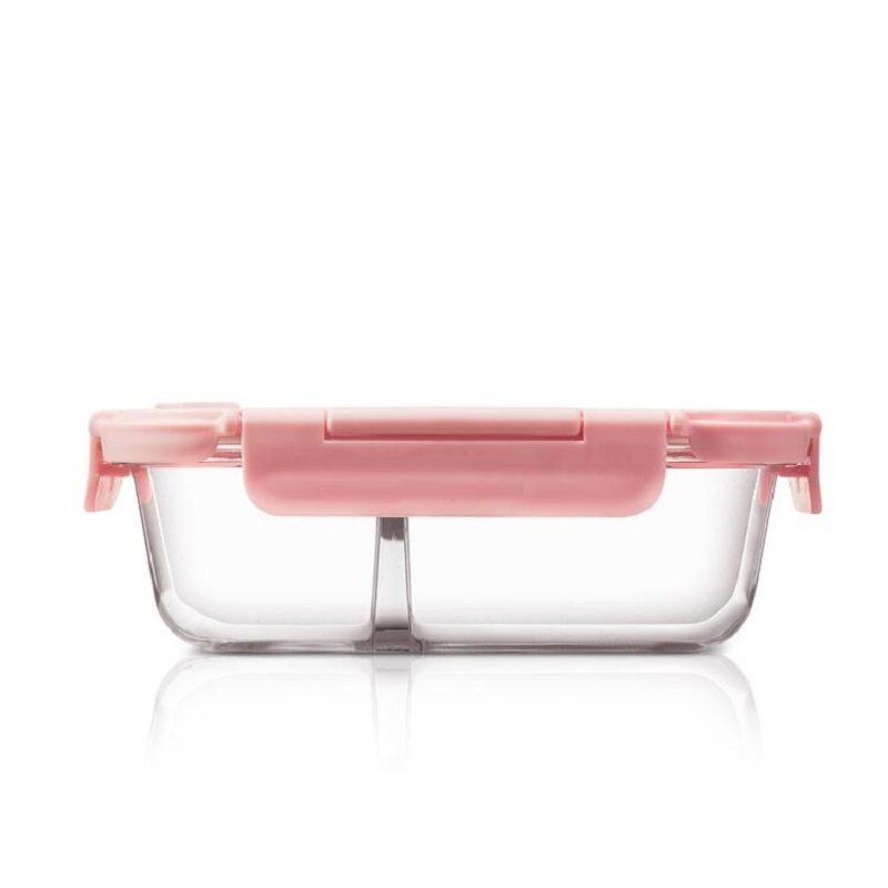 Resist 400 Degrees Glass Lunch Box with Durable Locking Lid and Hole Leakproof Lunchboxes Women Adult -Pink Blue