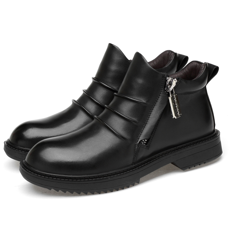 2019 new fashion men 39 s boots genuine leather zipper ankle boot shoe man autumn amp winter snow boots for men plus size black shoes in Snow Boots from Shoes