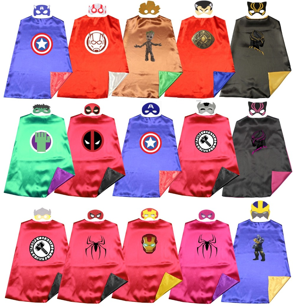Satin 2layer  Superhero Capes +masks  Super Hero Costume Birthday Party Favor Dress Up Captain Marvel