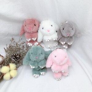 Image 5 - 새 도착 귀여운 부드러운 솜털 토끼 박제 동물 토끼 장난감 패션 인형 아기 소녀 키즈 선물 동물 인형 키 체인