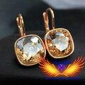 25 cores de Design Da Marca!! Banhado A ouro 100% Jóias Austríaco Strass SWA crystal gota Brincos de argola cúbicos de corte, preço de fábrica