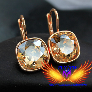 25colors!Brand Design!Gold Color 100% Austrian Rhinestone SWA crystal Jewelry drop hoop cubic cut Earrings, factory price