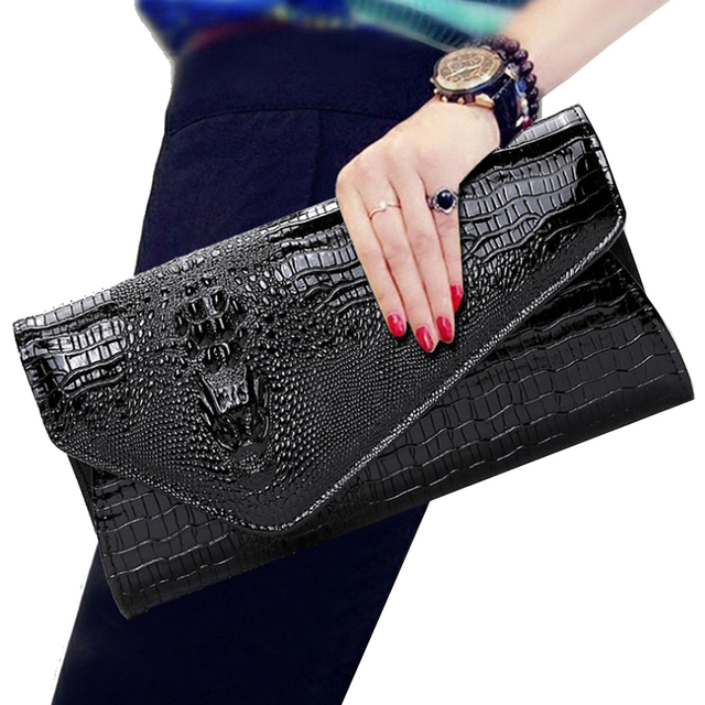 d47629d8d9f women leather clutch purse party bags High quality crocodile gold envelope  clutch bag female long wallet