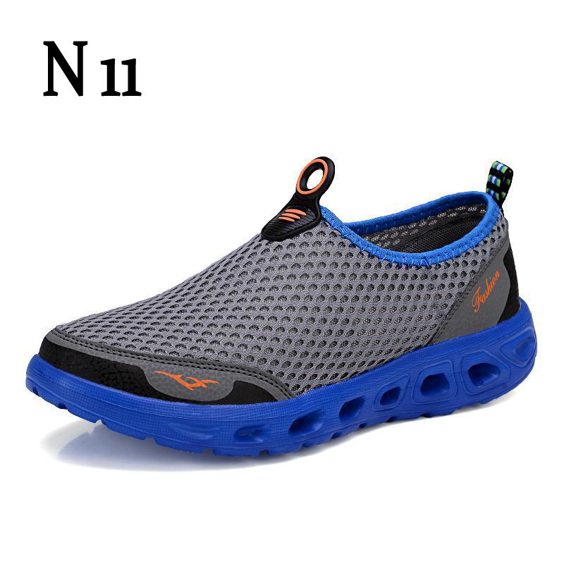 N11 Men Shoes 2017 Fashion Brand Sport Outdoor Mesh Shoes High Quality Breathable Slip On Summer Casual Shoes Plus Size 39-46 hot new 2016 fashion high heeled women casual shoes breathable air mesh outdoor walking sport woman shoes zapatillas mujer 35 40