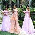 Новое Прибытие 2017 С Плеча Аппликация Тюль Розовые Платья Невесты Лонг Плюс Размер Maid of Honor Платья для Свадеб