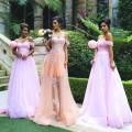 New Arrival 2017 Off the Shoulder Applique Tulle Pink Bridesmaid Dresses Long Plus Size Maid of Honor Dresses for Weddings