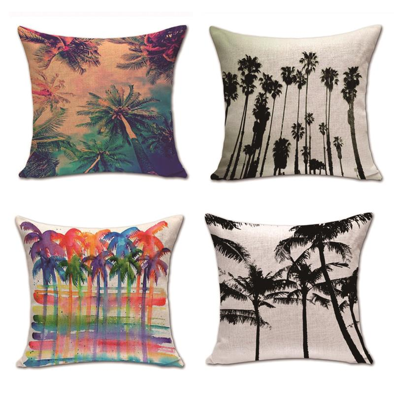 Plant Palm Trees Cushion Watercolor Palmier Pillow Case Boho Family Baby Birth Gifts Red ...