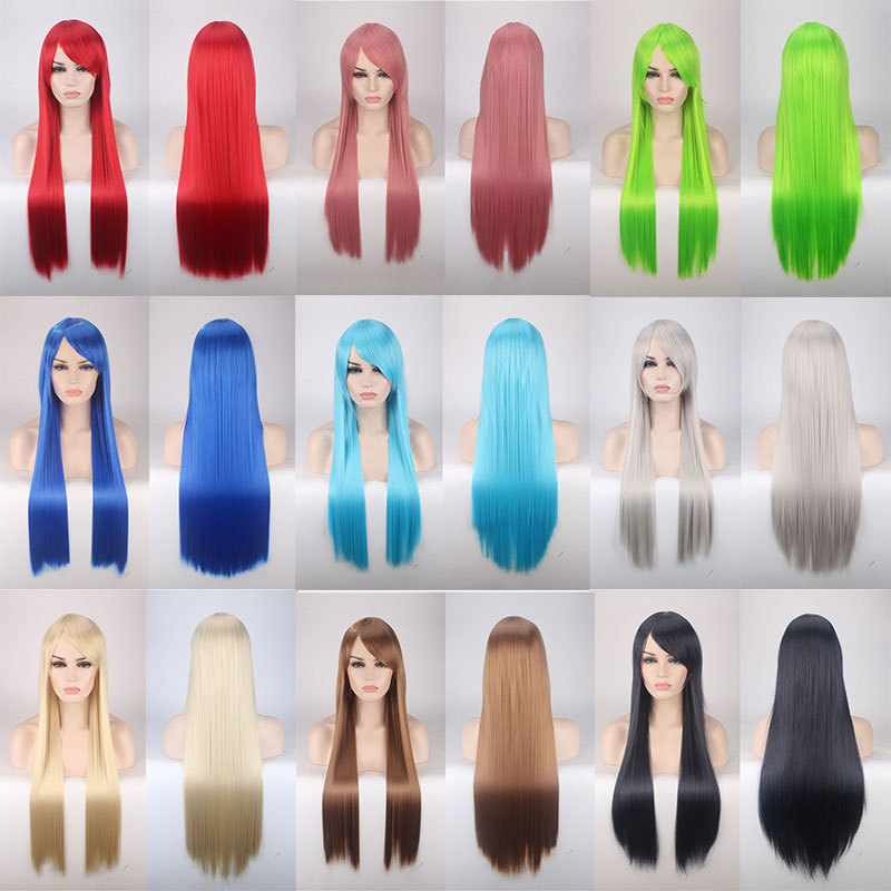 80CM Long Straight Wig 32'' Women girls Cosplay Wigs anime lolita Synthetic Hair Halloween Costume Party role play Perucas