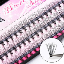 OSHIONER Natural Fake Eye Lashes 60pcs 8/10/12/14mm Makeup Individual Cluster Eye Lashes Grafting Fake False Eyelashes(China)