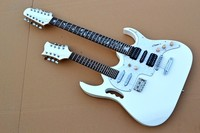 Premium custom electric guitar, one 8 string, one 12 string, bright white, free delivery.