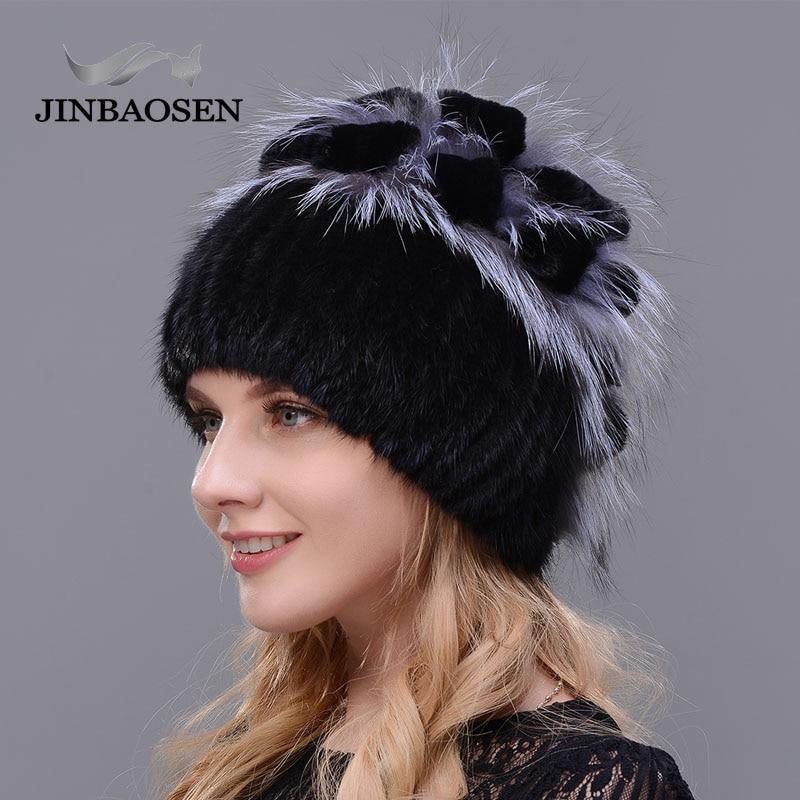 2019 Russian Fur  Woman Winter Fashion Real Mink Fur Hat Wool Ski Rabbit Natural Fox Knit Hat Warm Ear Protection Travel Hat