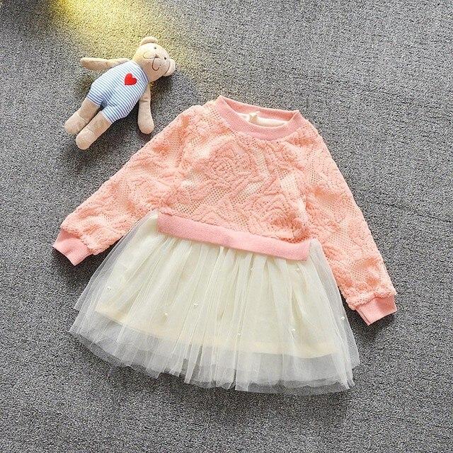 2016 Fashion Spring Baby Babi Girls Hollow out Mesh Patchwork Dress Infants Party Princess Tutu Dresses MT623