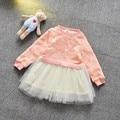2016 moda primavera Babi meninas de malha Patchwork vestido crianças princesa Tutu vestidos MT623