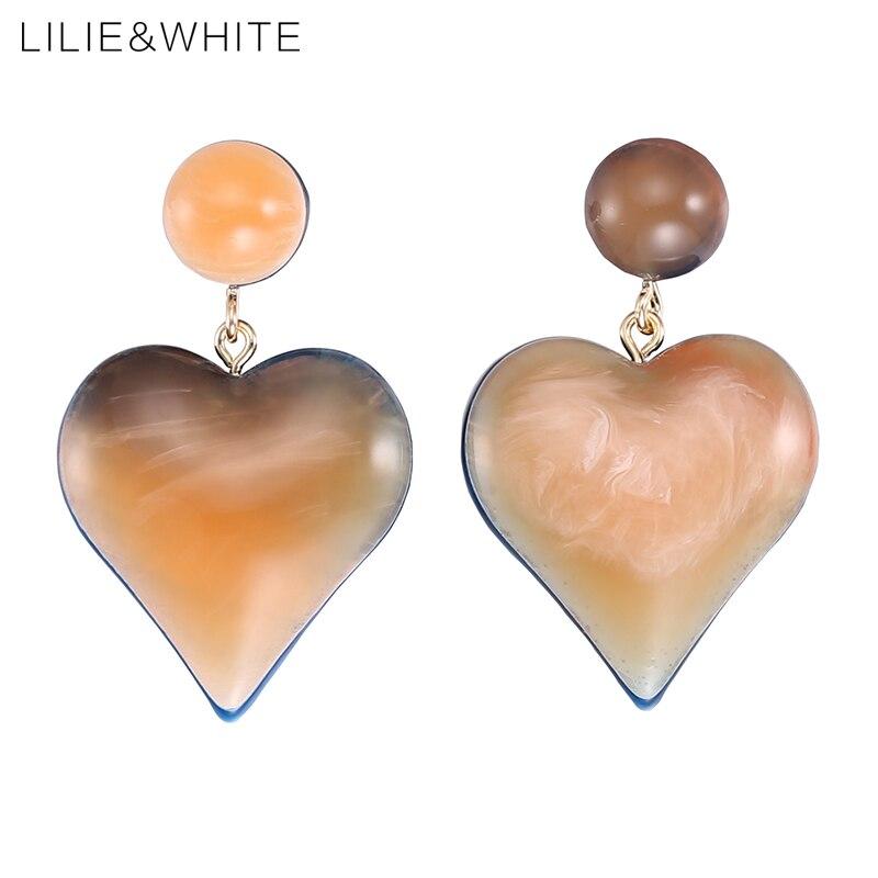 LILIE&WHITE Fashion Heart Colorful Acrylic Drop Earrings Jewelry Earrings For Women Cute Love Dangle Earrings Jewelry Gift HC