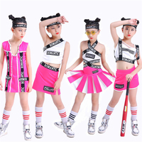 Jazz Dance Costumes For Girls Pink Kids Cheerleading Clothing Childs Hip Hop Dance Outfit Street Performance Dancewear DNV11001