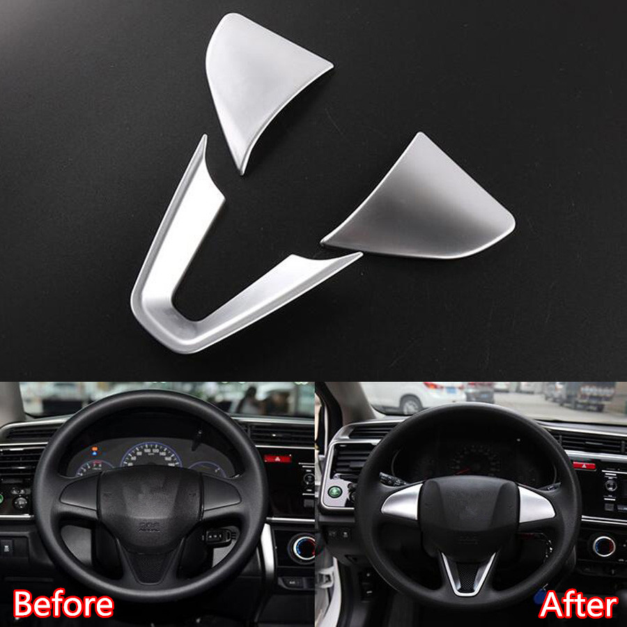 YAQUICKA 3Pcs set Auto Car Steering Wheel Trim Frame Covers Car styling Sticker Fit For Honda