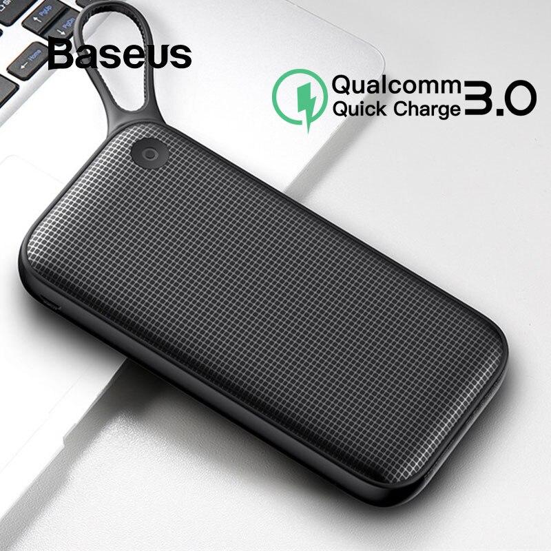 Baseus batterie externe 20000 mah Charge rapide 3.0 chargeur de téléphone Portable double USB batterie externe banque pour iPhone Xs Max Samsung S9