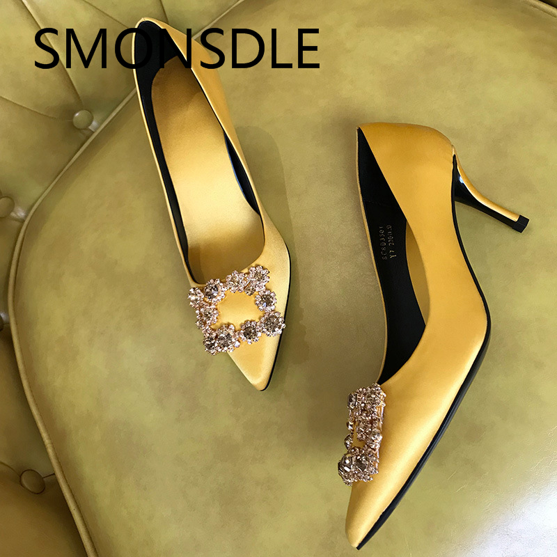 2018 Spring Summer Real Silk Women Pumps Crystal Pointed Toe Slip On Thin Heels Women Shoes Lady Wedding Party Shoes Woman xiaying smile woman pumps british shoes women thin heels style spring autumn fashion office lady slip on shallow women shoes