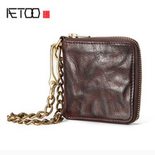 AETOO Original retro leather wallet male short section zipper cross soft skin youth Japan and South Korea persona