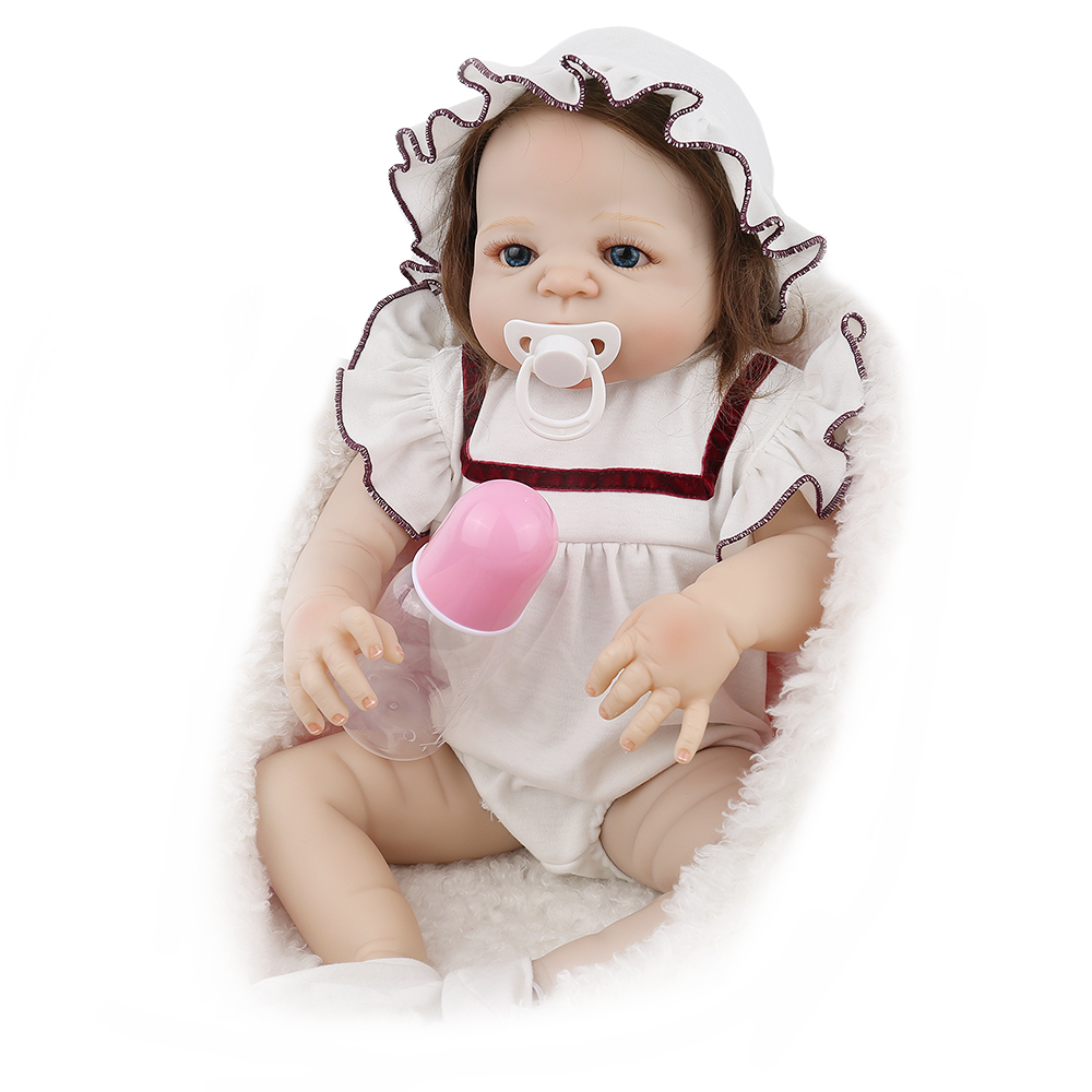 NPKDOLL Full Body Silicone Reborn Doll baby 22 inch 55cm For Girls White Clothes Children Playmate dollhouse vinyl doll npkdoll 22 inch 55cm silicone reborn baby dolls with implanted mohair good price playmate christmas gift for children